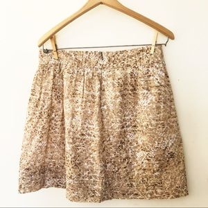 LOFT Cotton Taupe Animal Print Skirt Size 6